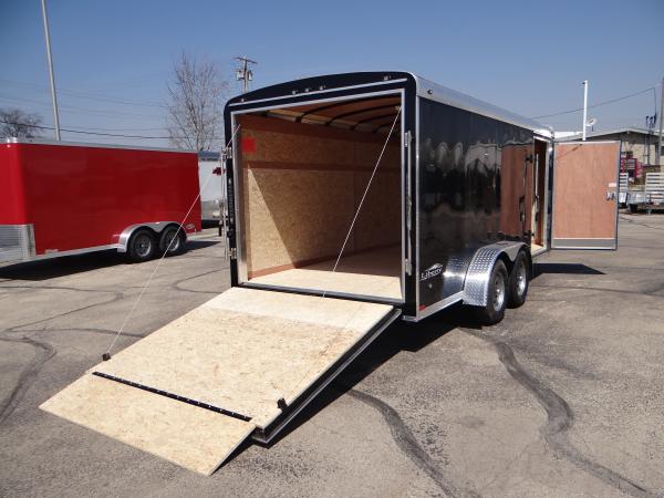 7 39 X 16 39 Enclosed Cargo Trailer With Rear Ramp Door Black Exterior Advantage Trailer