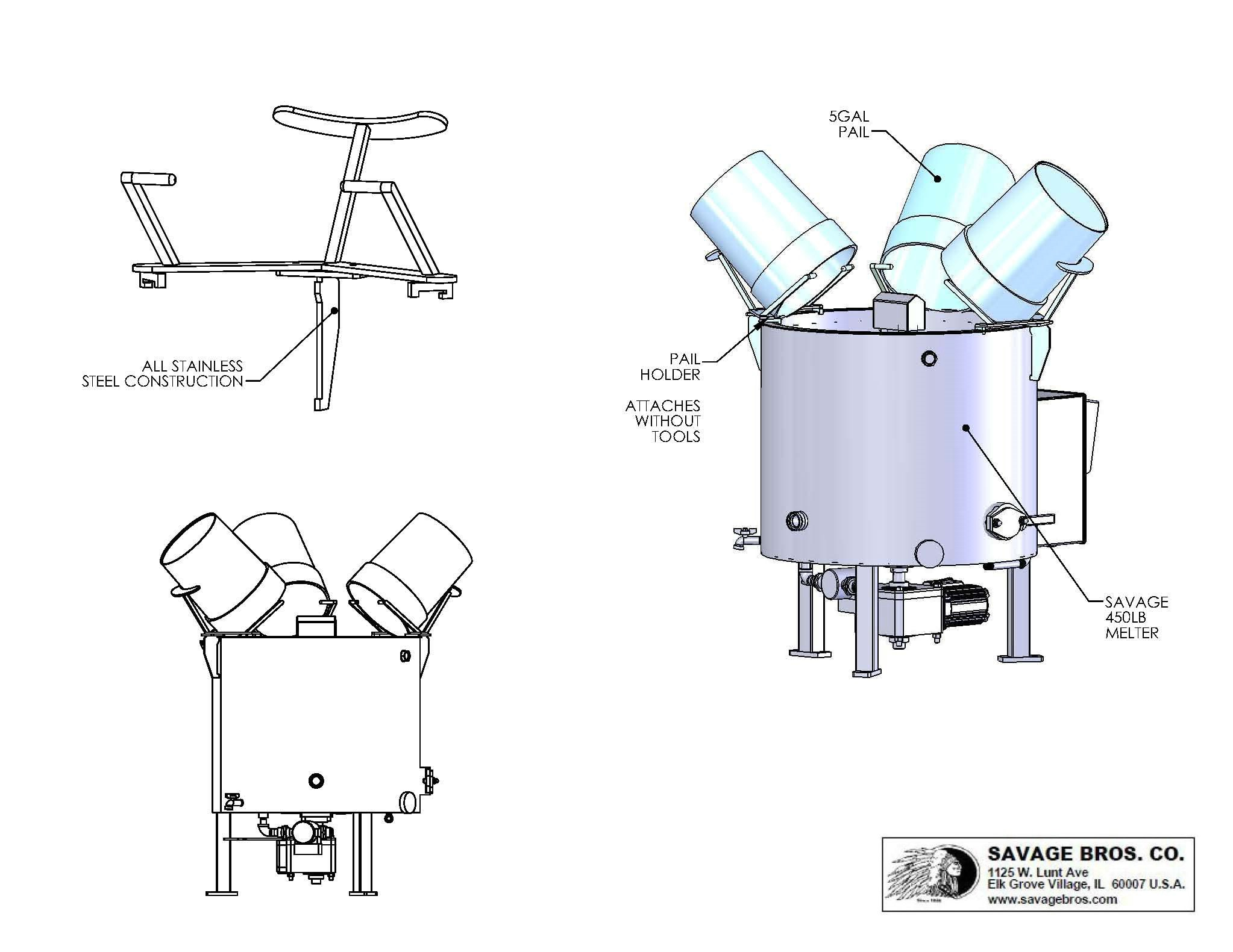 Baking Equipment Drawing Icing Melter With 5 Gallon