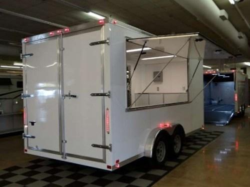 Enclosed Polar White 7 5 X 16 Atc Aluminum Trailer